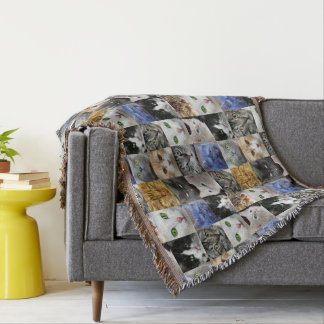 Cat Lover Many Faces Collage Throw
