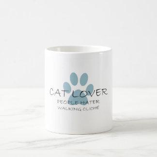 Cat Lover People Hater Walking Cliche Basic White Mug