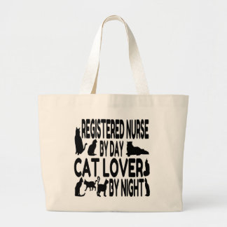 Cat Lover Registered Nurse Large Tote Bag