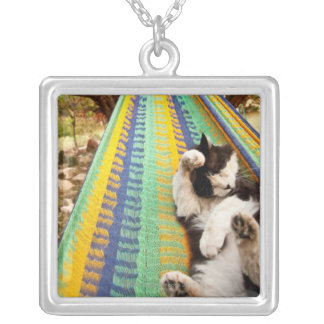 Cat lying in Mayan Mexican hammock Silver Plated Necklace