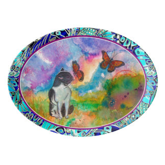 Cat & Monarch Winged Trim Serving Platter
