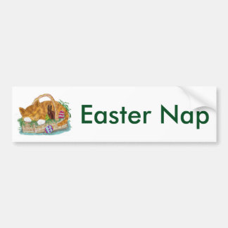 Cat Nap in an Easter Basket Bumper Sticker