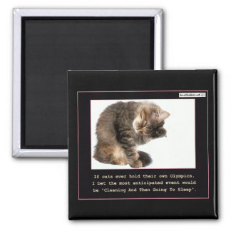 Cat Olympics Square Magnet