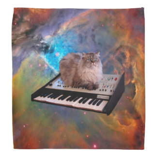 Cat on a Keyboard in Space Bandannas