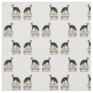 Cat on a stack of books fabric