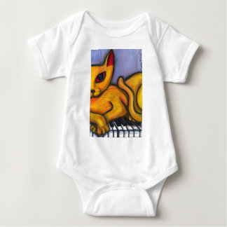 Cat On Piano Baby Bodysuit