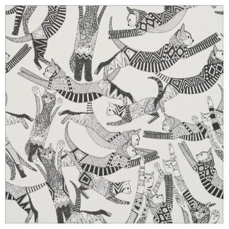 cat party black white fabric