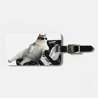 Cat piano - cat with sunglasses - cat drawing luggage tag