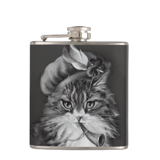 Cat Playing Horn Flask - Anthropomorphic Art