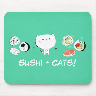 Cat plus Sushi equals Cuteness! Mouse Pad