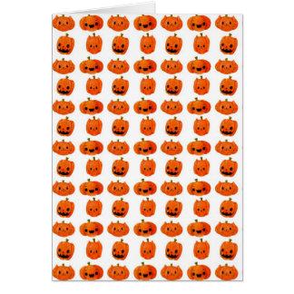 Cat Pumpkin Head Pattern Greeting Card