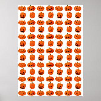 Cat Pumpkin Head Pattern Poster