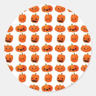 Cat Pumpkin Head Pattern Round Sticker