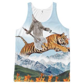 Cat Riding A Tiger All-Over Print Tank Top