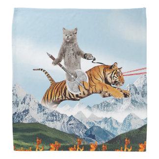 Cat Riding A Tiger Bandanas