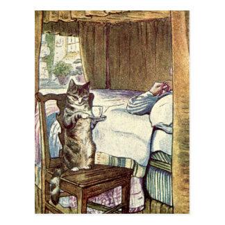 Cat Serves Breakfast in Bed Postcard