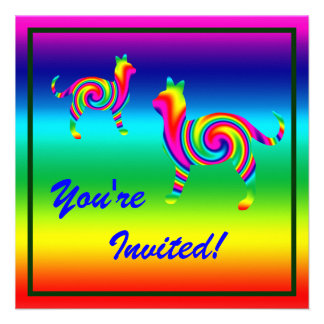 Cat Shaped Rainbow Twist Invites