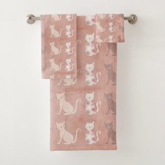 Cat Silhouette Pattern on Brown Bath Towel Set