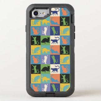 Cat Silhouette Quilt Squares in Vintage Colors OtterBox Defender iPhone 7 Case
