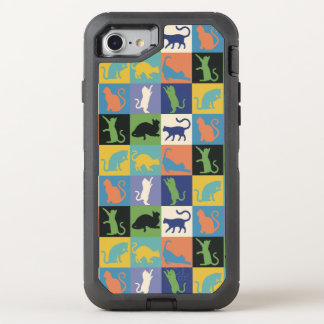 Cat Silhouette Quilt Squares in Vintage Colors OtterBox Defender iPhone 8/7 Case