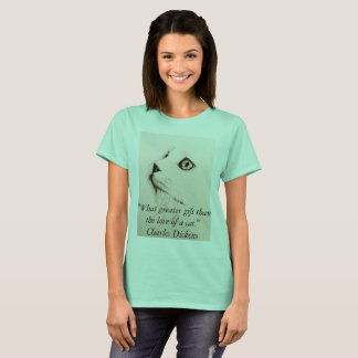 Cat Sketch Tee Shirt Quote from Charles Dickens