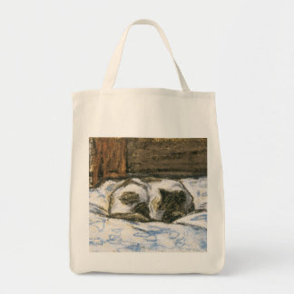 Cat Sleeping on a Bed by Claude Monet Tote Bag