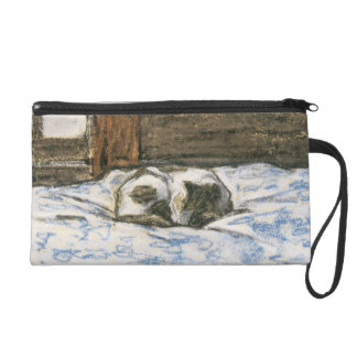Cat Sleeping on a Bed by Claude Monet Wristlet