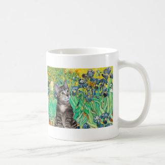 Cat Tabby 2 - Irises Coffee Mug