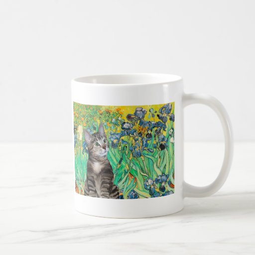 Cat (Tabby 2) - Irises Coffee Mug