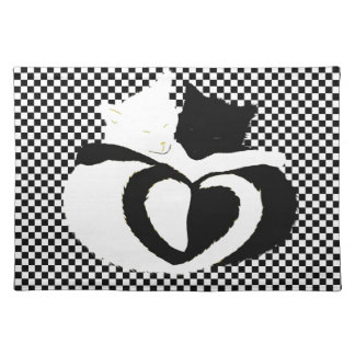 CAT tails - love black white Placemat