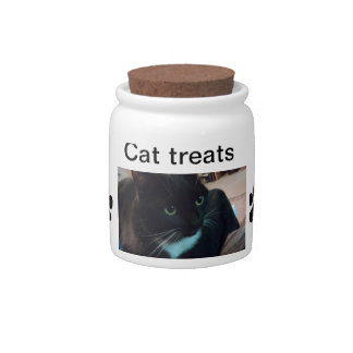 Cat treat jar candy dish