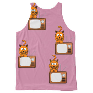 Cat TV All-Over Print Singlet