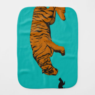 Cat Versus Tiger Ready to Fight or Take On Burp Cloth