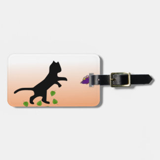 Cat With Butterfly Luggage Tag