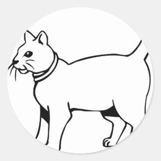Cat with collar classic round sticker