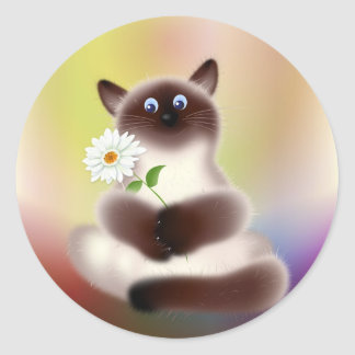 Cat With Flower Classic Round Sticker