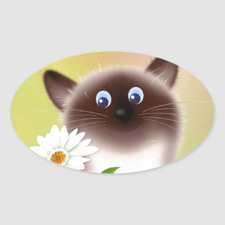Cat with Flower Oval Sticker