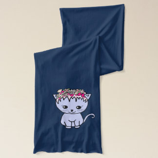 cat with flowers scarf