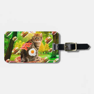 Cat with glasses - cat sitting - pizza cat luggage tag