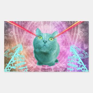 Cat with laser eyes rectangular sticker