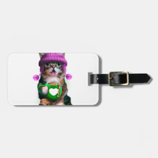 Cat with mug - cat coffee cup - cute kittens luggage tag