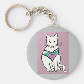Cat with Rose Collar Key Ring