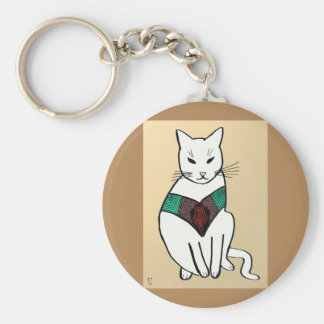Cat with Ruby Collar Key Ring