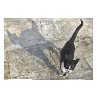 Cat with shadow walking towards camera placemat