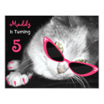 Cat With Sunglasses Birthday Party Invite 11 Cm X 14 Cm Invitation Card