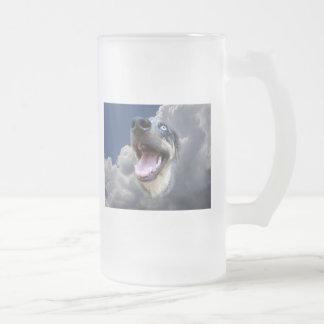 Catahoula Leopard Dog Fluffy Clouds Closeup Frosted Glass Mug