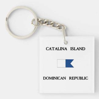 Catalina Island Dominican Republic Alpha Dive Flag Key Ring