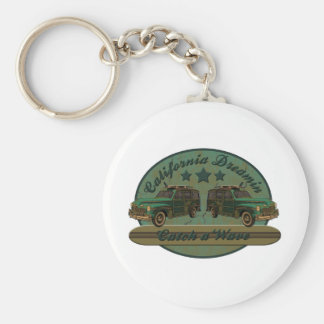 Catch a California Dreamin Surf Wave Basic Round Button Key Ring