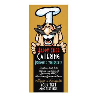 Catering business promotion Menu.Chef.Customizable Custom Rack Card