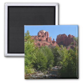 Cathedral Rock and Stream in Sedona Arizona Square Magnet